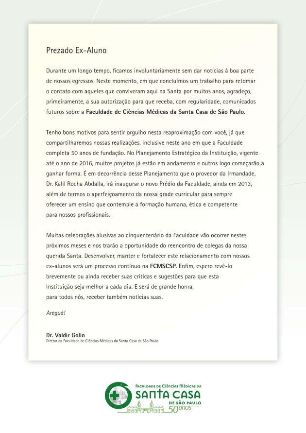 Carta do Dr. Valdir Golin a ex-alunos