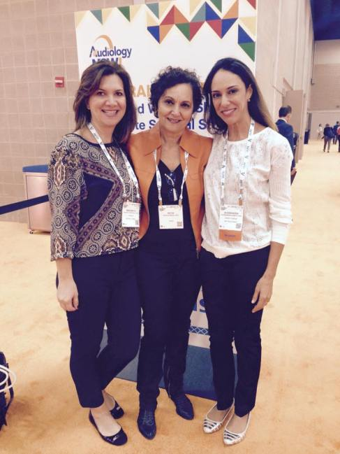 Da esq. p/ a dir.: Prof.ª Dra. Margarita Bernal Wieselberg, Prof.ª Dra. Katia de Almeida e Prof.ª Dra. Alessandra Spada Durante